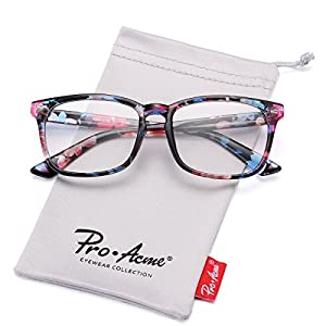 Pro Acme New Wayfarer Non-prescription Glasses Frame Clear Lens Eyeglasses (Floral)