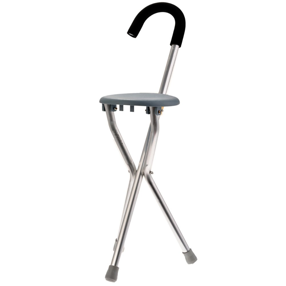 Finly Aluminum Alloy Walking Stick With Chair Tripod Light-Weighted Fishing Rest Stool For Elder/Camping Sticker Walker Aid Stool