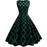 AmyDong Women's Dress, Women Hepburn Vintage Printed Plaid Waist Large Swing Dress Floral Plaid Sleeveless Casual Evening Party Skirt (2XL, Green)