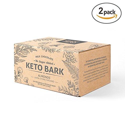 ChocZero's Keto Bark, Milk Chocolate Almonds, 100% Stone-Ground, No Added Sugar, Low Carb, No Sugar Alcohols, Non-GMO (2 boxes, 6 (Milk Chocolate Snack)