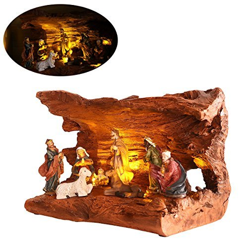 Unomor Nativity Scene Set for Christmas Decoration, Set of One, Durable Resin Made, 8.5-Inch
