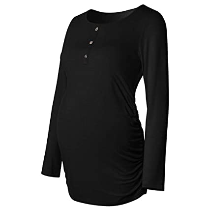 cb45cf7955f Amazon.com: BOLUOYI Old Navy Maternity Clothes Women Maternity Button Shirt  Long Sleeve Basic Top T Shirt for Pregnant Clothes Black 2XL: Toys & Games
