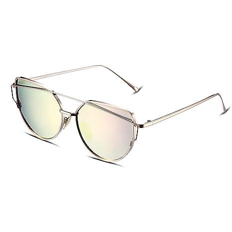 NYKKOLA Gafas De Sol clásicas, para mujer, con marco de acero inoxidable