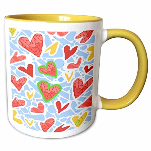 3dRose S. Fernleaf Designs Patterns Folk Art - Patterns, Folk Art ,Whimsical, Hearts, White Background - 11oz Two-Tone Yellow Mug (mug_37496_8)