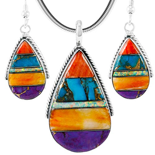 925 Sterling Silver Matching Pendant & Earrings Set Genuine Gemstones 20
