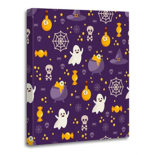 Emvency Painting Canvas Print Artwork Decorative Print Wooden Frame Autumn Halloween Funny with Ghost Candy Potion and Spider on Dark for and Cute 24x32 Inches Wall Art for Home Decor