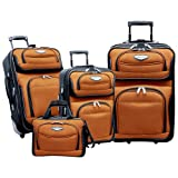 Traveler's Choice Travel Select Amsterdam 4-Piece Expandable Luggage Set (Orange/Black), Bags Central