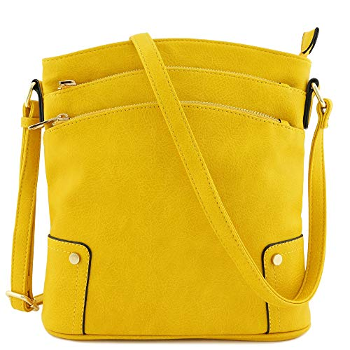 Triple Zip Pocket Large Crossbody Bag (Yellow)