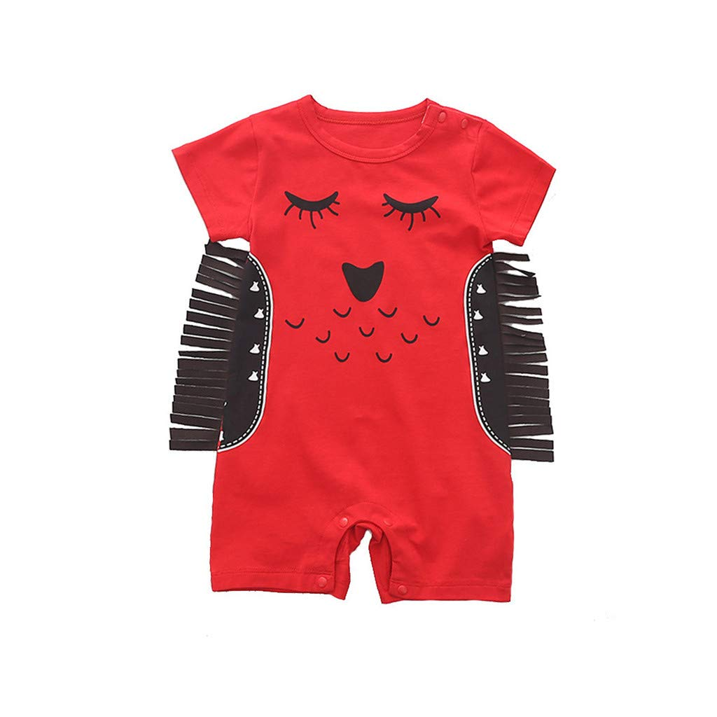 NUWFOR Newborn Kids Baby Boys&Girls Cartoon Animal Printed Romper Jumpsuits Outfits(Red,6-12 Months)
