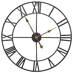 FCZH Decor Wall Clocks, European Retro Vintage Clock Large Roman Numerals Silent Battery Operated Metal Skeleton Clock,32inch