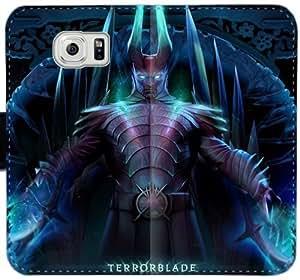Terrorblade Dota Demonio Marauder J9W3A Funda Samsung Galaxy S6 funda de cuero caja de la carpeta personalizada V1HIF5 funda caso del tirón