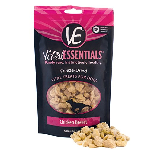 Vital Essentials Premium USA Made Grain Free Freeze-Dried Chicken Breast Dog Treats for Training - Travel - Treating - 2.1 Ounce Resealable Bag