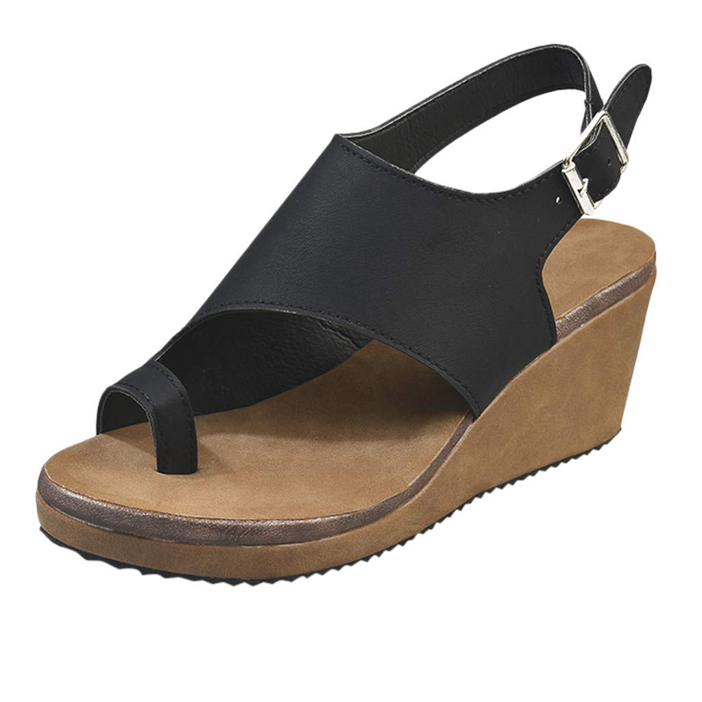 LuckyGirls Women Open Toe Breathable Beach Sandals Rome Buckle Strap Casual Wedges Shoes
