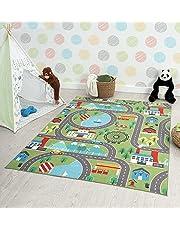 the carpet Happy Life Kindertapijt, speeltapijt, wasbaar, straattapijt, stad, auto, groen, 80 x 150 cm