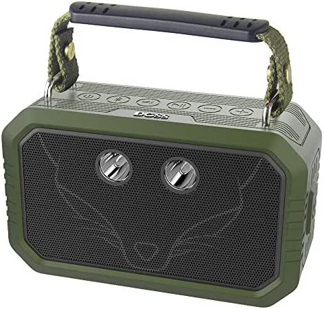 DOSS Bluetooth Speaker,Wireless Portable IPX6 Waterproof Indoor Outdoor Speakers with 20W Stereo Sound,Booming Bass,3W Flashlight,12Hours playtime,Rugged for Party,Beach,Camping,Hiking(Olive Green)