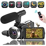 Video Camera WiFi Camcorder Digital Camera Full HD 1080P 30FPS 16X Digital Zoom Vlogging Camera with Microphone 3.00 Rotatable Touch Screen Support Remote Control Time-Lapse Photography Night Vision