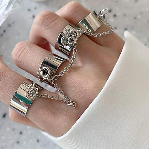 H.D.S.N. Punk Multi Layer Chain Finger Rings Adjustable Stackable Vintage Silver Punk Statement Ring for Women Girls
