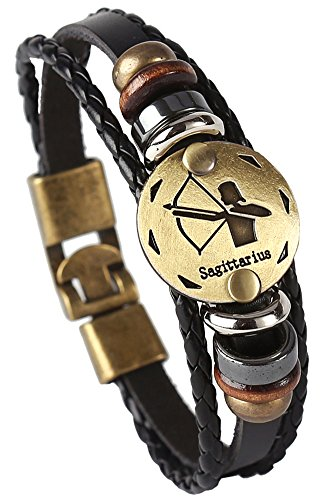 Hamoery Punk Alloy Leather Bracelet for Men Constellation Braided Rope Bracelet Bangle Wristband(Sagittarius)