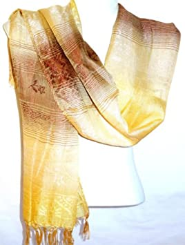 MADE IN ZEN Echarpe Foulard Châle Etole Femme Style Pashmina Marron Beige  Blanc cassé Blanche 92059175757