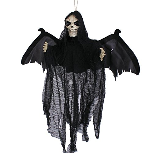 Gillberry Sound Control Creepy Scary Animated Skeleton Ghost Halloween Party Decoration (black) (Skull Sock Mask)