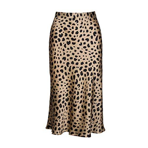 High Waist Leopard Midi Skirt Elasticized Waistband Silk Satin Slip Animal Print - Skirt Print Linen