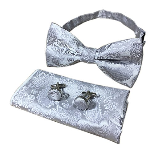 (Silver Grey Bow Ties Events Formal Pocket Hankie Handsome Bowties Set Ideal Gift )