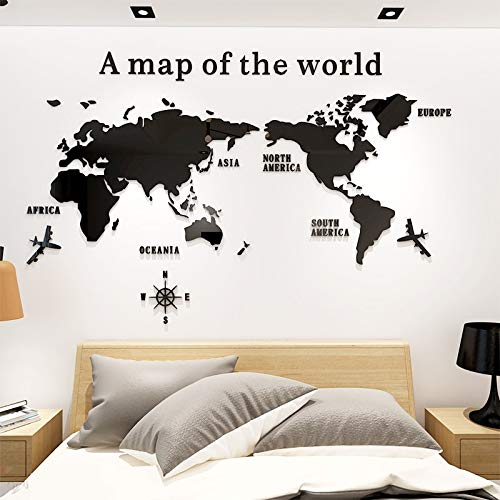 Viet SC Living Room Decoration - World Map DIY 3D Acrylic Wall Stickers for Living Room Educational World Map Wall Decals Mural for Children Bedroom Dorm -