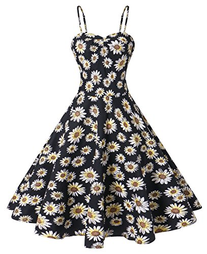 VOGTORY Women's Plus Size Floral Strappy Swing Dress Beach Slip Dress Short Braces Skirt Daisy Yellow