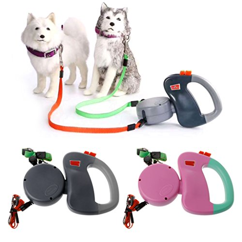 - Qupida 3M Long Pulling Training Rope For Dogs, Auto Retractable Double-Headed Dog Leash Walking Lead (PK)