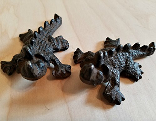 2 Rustic Horned Lizard Dragon Reptile Collectible Figure Statue