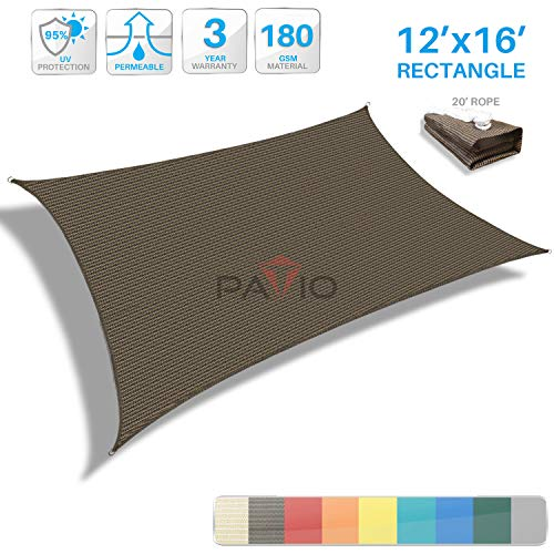 Patio Paradise 12' x 16' Brown Sun Shade Sail Rectangle Canopy - Permeable UV Block Fabric Durable Outdoor - Customized Available (Blue Of Shdes)
