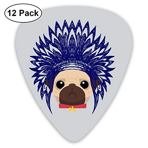 - HEHE TAN Guitar Pick ABS Pug Wearing Indians With Headdress Bass Guitar Acoustic Guitar Plectrums 12 Mixed Loading