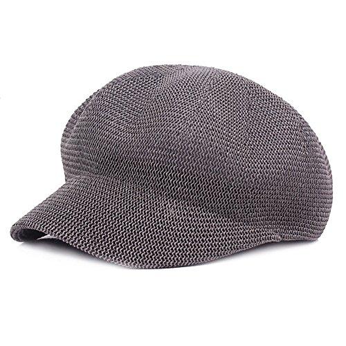 Fasbys Women Breathable Mesh Summer Hat Newsboy Beret Ivy Cap Cabbie Flat Cap (Grey)
