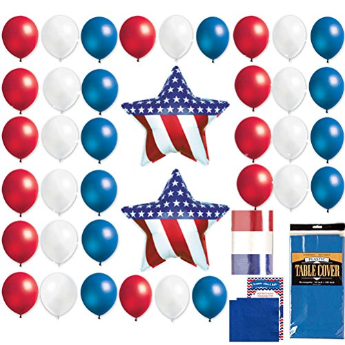 4th of July Balloon Bouquet Set - Patriotic American Flag Stars & Stripes Red White Blue Independence Day Kit 38 Balloons, Ribbon, Table cover, Napkins & Recipe Pack (83 pieces)