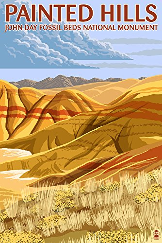 John Day Fossil Beds, Oregon - Painted Hills (9x12 Art Print, Wall Decor Travel Poster)