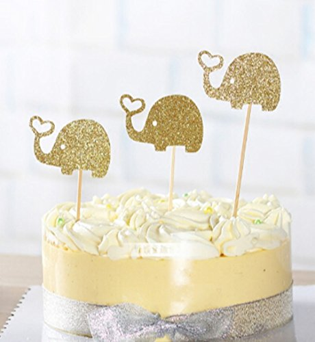 10 Pack Gold Glitter Elephant Cupcake Toppers Elephant Cake Toppers for Birthday Party Baby Shower Decoration