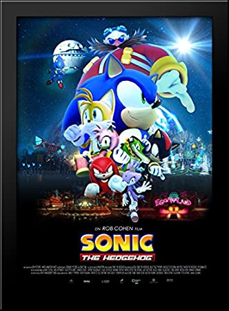 Amazoncom Sonic The Hedgehog 28x38 Large Black Wood Framed Print