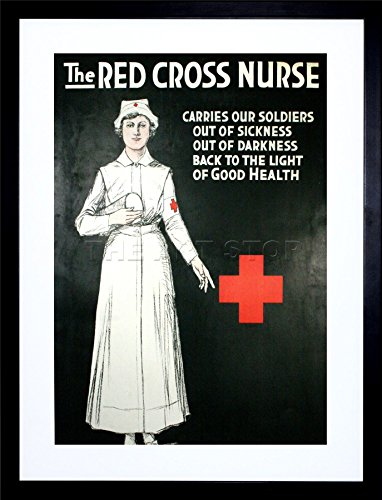 - 9x7 '' Vintage AD First AID RED Cross Nurse Soldiers Framed Art Print F97X1642