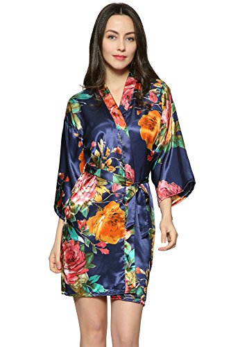 Floral Satin Pajamas (Zarachilable Large floral Satin floral robe,women lady bride robe bridesmaid robe night robe (S/M, navy blue))