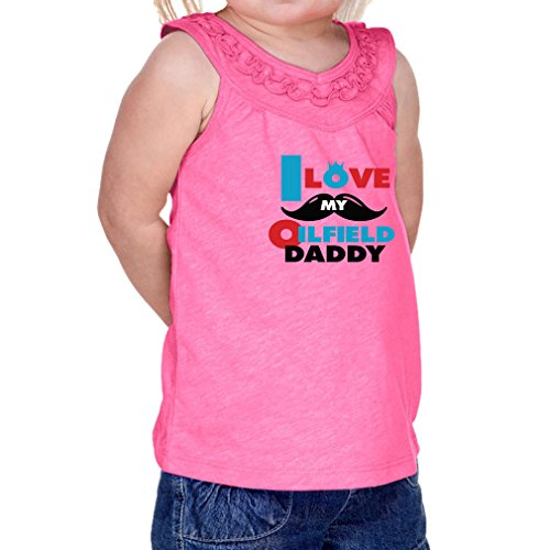 Cute Rascals I Love My Oilfield Daddy 60/40 Cotton/Polyester Tank Ruffle Neck Girl Infant Jersey Tee Yoke - Hot Pink, 6 (Yoke Oil)