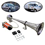 Lebogner 12V Single Trumpet Air Horn - For Truck - SUV - Car - Boat - Or Train With A Super Loud Powerful 150DB Compressor - Includes Basic Mounting Hardware (Does Not Include Relay - Switch - and Wiring Kit)
