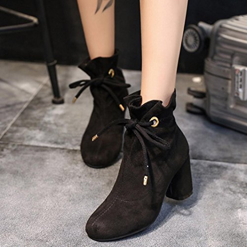 hunpta Casual Boots, Women's Spring Casual Boots Outdoor Lace-up Square Heel Ankle Boots Black