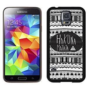 Fashionable and Grace Galaxy S5 Case,Durable I9600 Case Design with Hakuna Matata Black Case for Samsung Galaxy S5 SV I9600