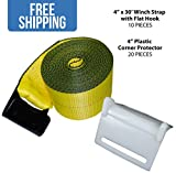 "4"" x 30' Winch Strap w/ Flat Hook — 10 PACK & 20 White Corner Protectors — Shippers Supplies"