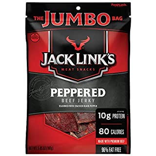 Jack Link's Beef Jerky, Peppered, 5.85 oz. Sharing Size Bag –Meat Snack with a Pepper-y Kick, 10g of Protein and 80 Calories, Made with 100% Beef - 96% Fat Free, No Added MSG or Nitrates/Nitrites