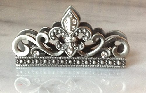 Business Card Holder (for desk) with Fleur de lis & Crystals - -
