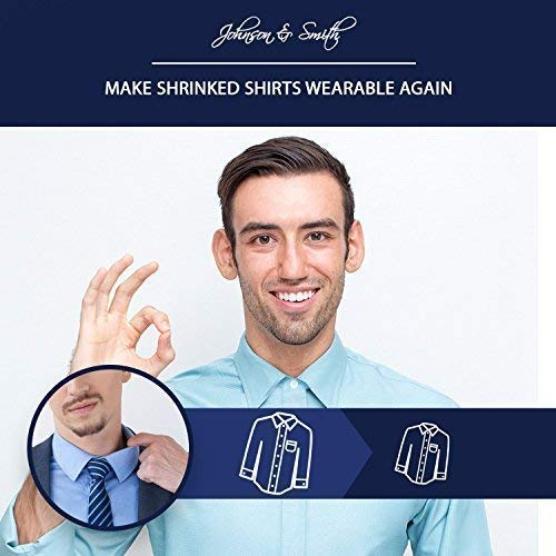 """Johnson & Smith Collar Extenders / Neck Extender / Wonder Button for 1/2 Size Expansion of Men Dress Shirts, 5 +1 Pack, 3/8"""""""