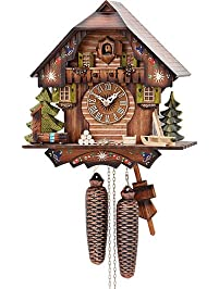 German Cuckoo Clock 8-day-movement Chalet-Style 13 inch - Authentic black
