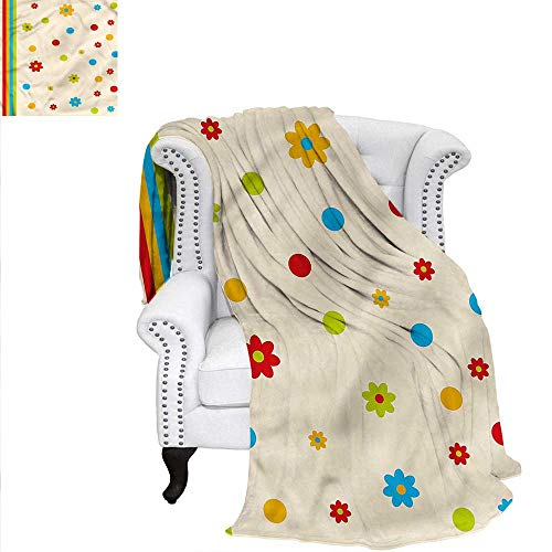 (RenteriaDecor Floral Flannel Blanket Dots and Flower Childish Oversized Travel Throw Cover Blanket 60