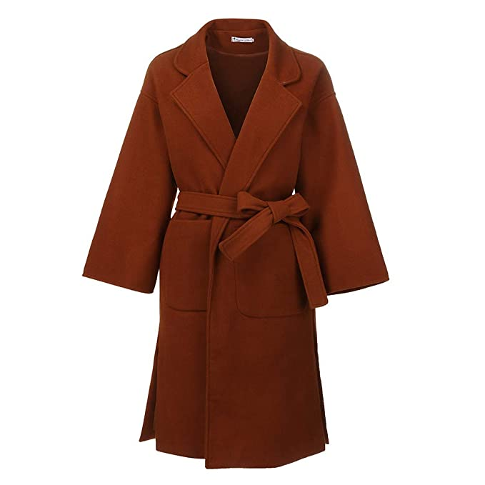 Amazon.com: Besde Womens Autumn and Winter Fashion Classic Hepburn Woolen Trench Coat Double-Sided Cashmere Loose Long Sleeve Decorative Belt Coat: Pet ...